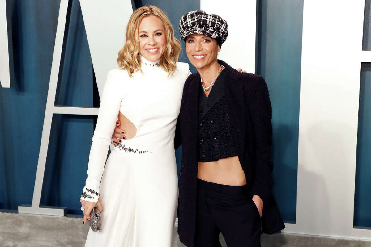 Maria Bello, left, and Dominque Crenn attend the Vanity Fair Oscar Party at Wallis Annenberg Center for the Performing Arts on February 09, 2020 in Beverly Hills, California.