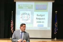 Acting Schools Superintendent Michael Testani presents the Bridgeport BOE budget request at Blackham School. Feb. 13, 2020