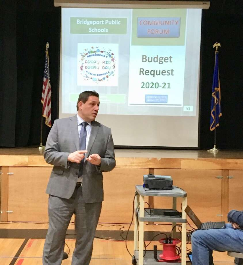 Acting Schools Superintendent Michael Testani presents the Bridgeport school board budget request at Blackham School. Feb. 13, 2020 Photo: File Photo