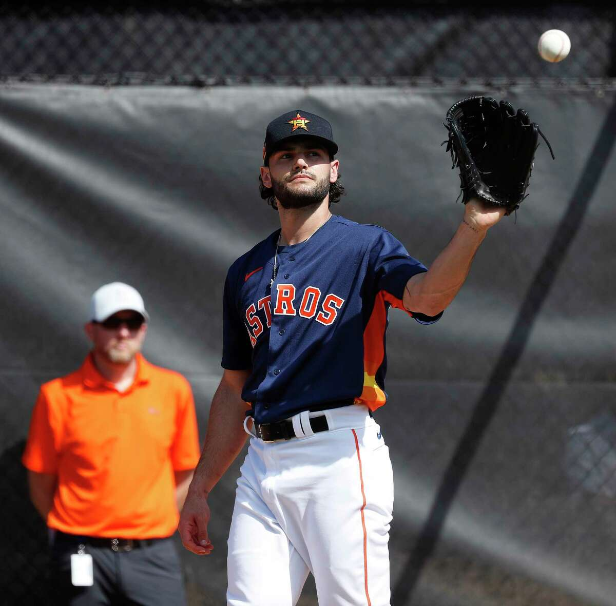 Houston Astros pitcher Lance McCullers Jr. (43) throws for the first time during the second day of the Astros spring training workouts at the Fitteam Ballpark of The Palm Beaches, in West Palm Beach , Friday, Feb. 14, 2020. McCullers Jr. is coming back from Tommy John surgery which kept him from playing during the 2019 season.