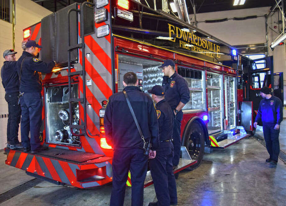 The Edwardsville Fire Department welcomed its newest addition, a 2019 Rosenbauer Commander rescue/pumper, Friday morning. Photo: Tyler Pletsch | The Intelligencer