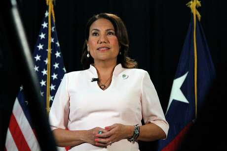 Rep. Veronica Escobar, D-Texas, speaks as she records a Spanish-language response to President Donald Trump's State of the Union address on Tuesday, Feb. 4, 2020, in El Paso, Texas. (AP Photo/Cedar Attanasio)