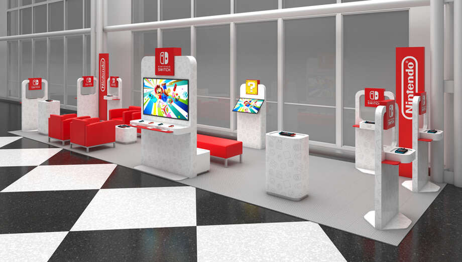 Nintendo Switch Lounges are coming to four airports this month -- including Seattle-Tacoma International on Feb. 17-March 29. Photo: Courtesy Nintendo