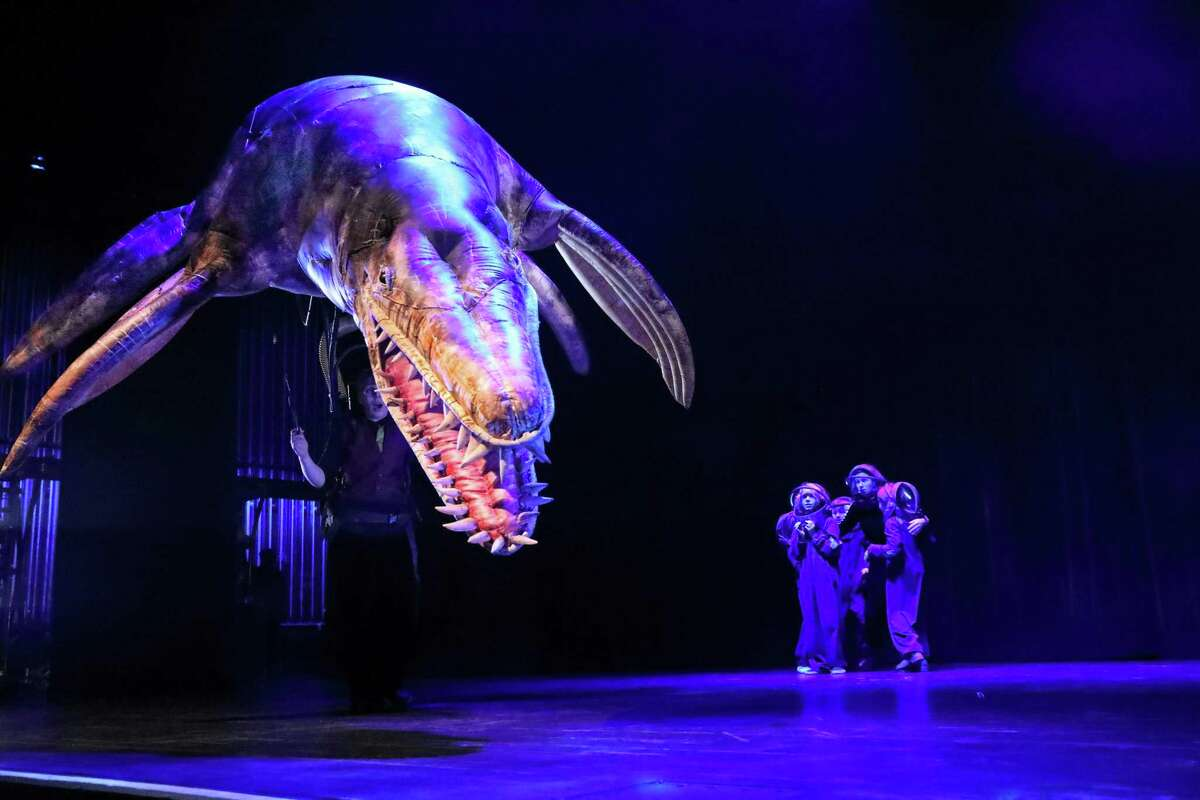 """""""Erth's Prehistoric Aquarium Adventure"""" comes to The Palace Theatre in Stamford Feb. 28. A Kronosaurus is seen here."""