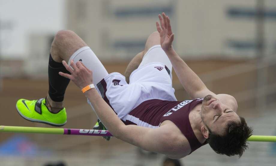 Lee High's Slade Ebenstein competes in the high jump 02/14/2020 at the Tall City Relays at Memorial Stadium. Tim Fischer/Reporter-Telegram Photo: Tim Fischer/Midland Reporter-Telegram