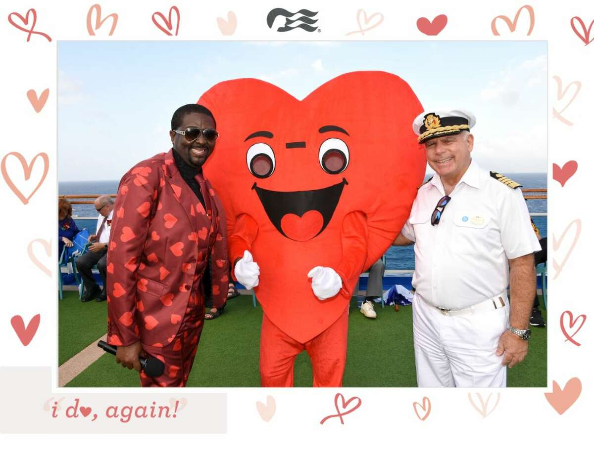 Posing with a big heart during a Princess Cruises vow renewal ceremony.