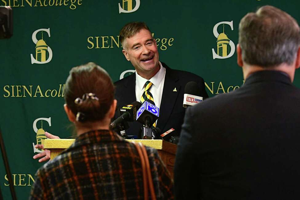 Former U.S. Rep. Chris Gibson talks to the press as Siena College announces him as its 12th president at Siena College on Friday, Feb. 14, 2020 in Loudonville, N.Y. Gibson, Ph.D, graduated from Siena in the class of '86. (Lori Van Buren/Times Union)