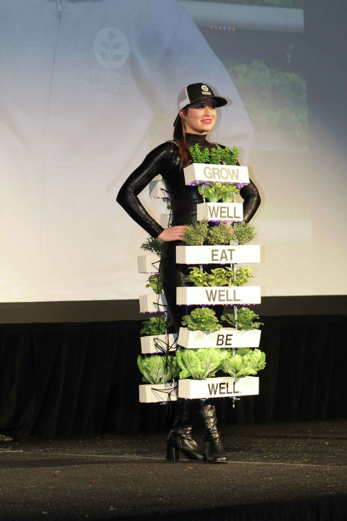 The fourth annual Inspire Film Festival kicked off on Thursday night, Feb. 13, with the usual fashion show, which features homemade dresses that represent each of the films being shown at the festival. Here, Izzy Ferber models a dress that includes living vegetables and lettuce, representing the documentary film