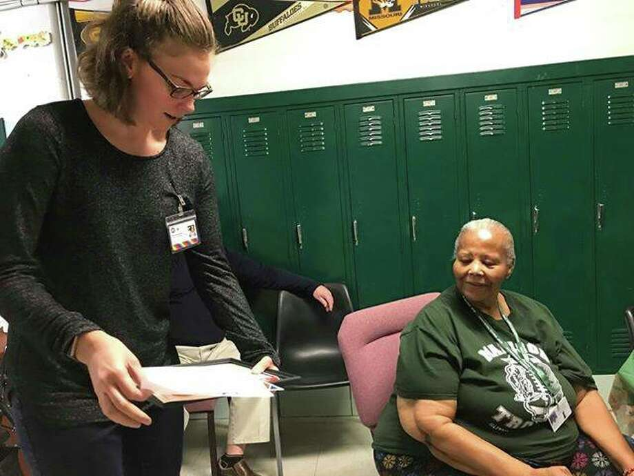 """Barbara Crowder, known as """"Granny,"""" works with the children and staff at the Madison Student Support Center. Last year Senior Services Plus Foster Grandparents tutored and mentored more than 400 children in Madison, Jersey, Macoupin, and Clinton counties."""