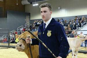 Cash Morrison of Seven Lakes High School shows his steer during the 77th Annual Katy ISD FFA Livestock Show and Katy Rodeo at the Gerald D. Young Agricultural Sciences Center in Katy on Thursday, Feb. 13.