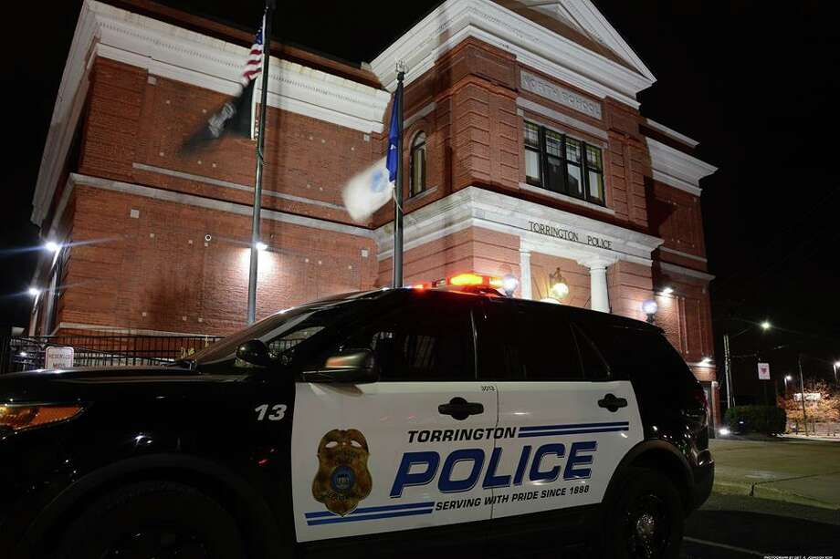 File photo of a Torrington police cruiser outside police headquarters. Photo: Contributed Photo / Torrington Police Department