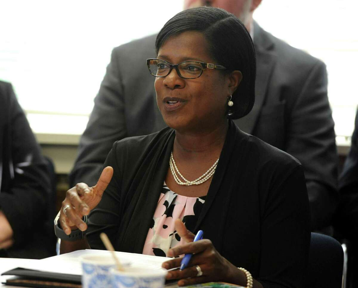 Miriam Delphin-Rittmon, Department of Mental Health & Addiction Services commission ) at a roundtable discussion at the Kinsella Treatment Center in Bridgeport, Conn. on Friday, Aug. 24, 2018.