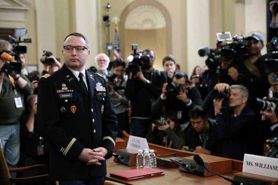 Key Impeachment witness Lt. Col. Alexander Vindman has been removed from his White House job, but remains active duty in the military. A reader commends Vindman for his courage to speak up. Photo: Drew Angerer /Getty Images / 2019 Getty Images