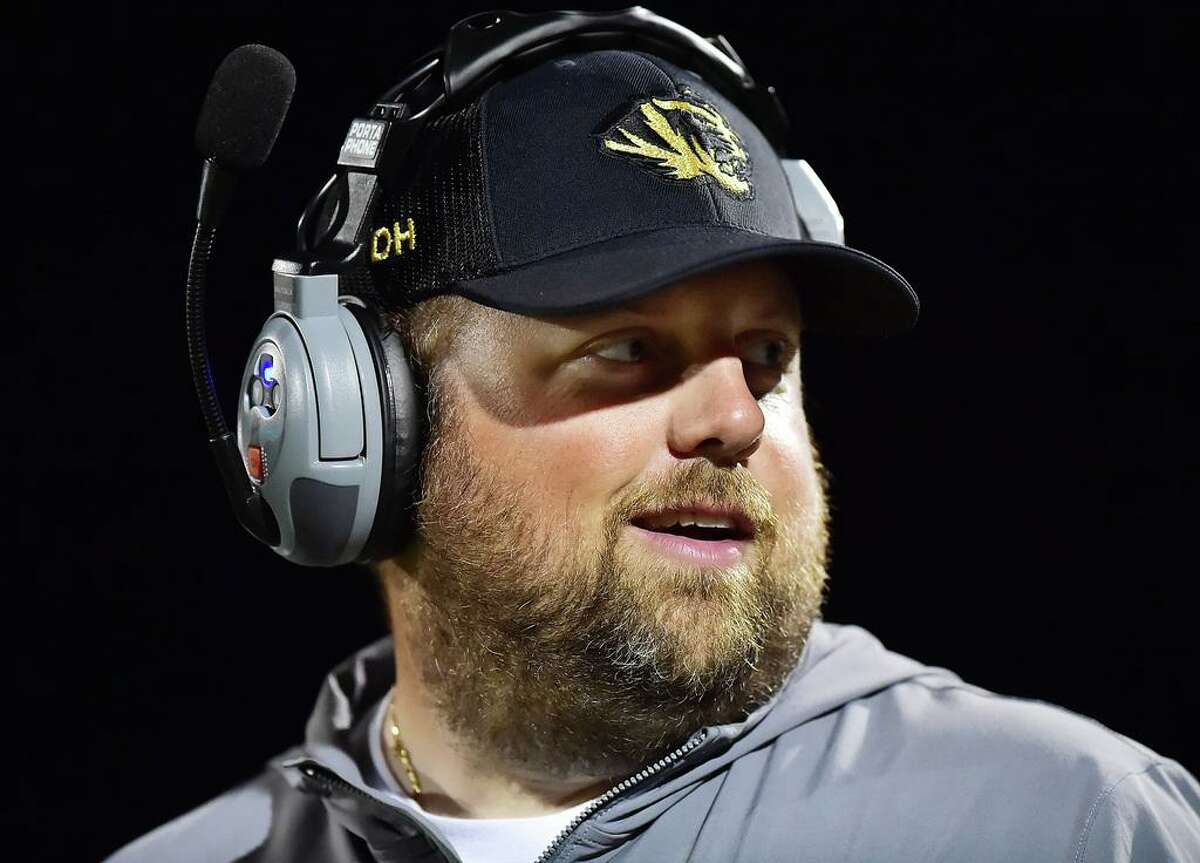 Former Daniel Hand High School head football coach Dave Mastroianni, shown during a 2018 game, has resigned his teaching position at the school.