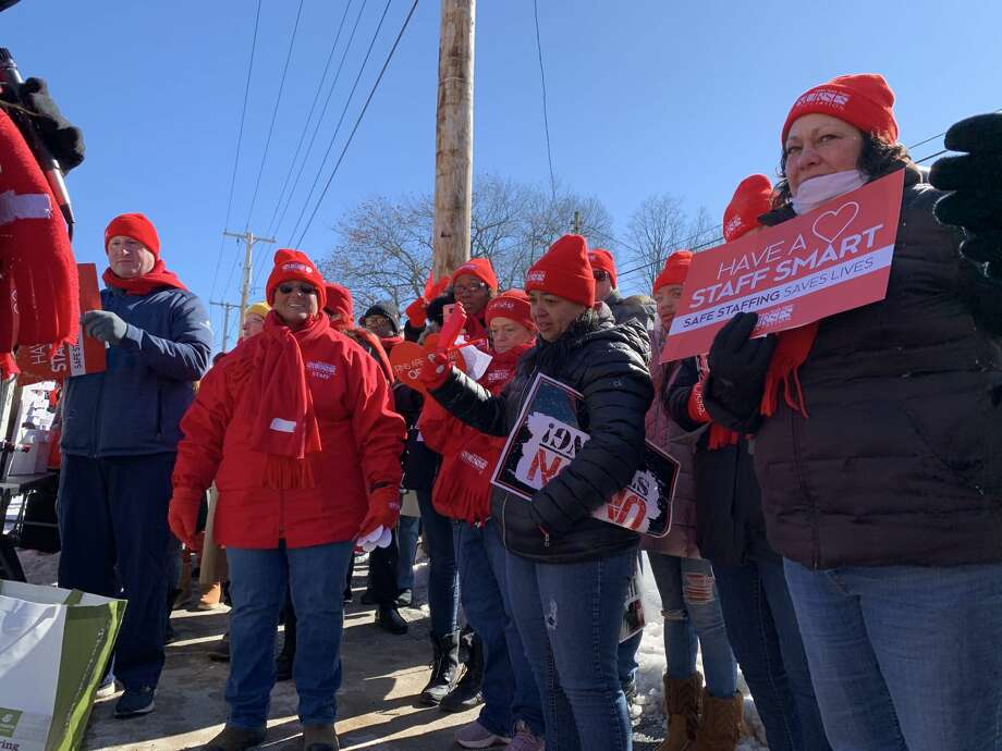 Dozens of nurses picket outside Ellis Hospital in freezing temperatures on Friday, Feb. 14, 2020 to raise public awareness for what they say are dangerously low staffing levels at hospitals across the Capital Region. Photo: (Bethany Bump/Times Union)