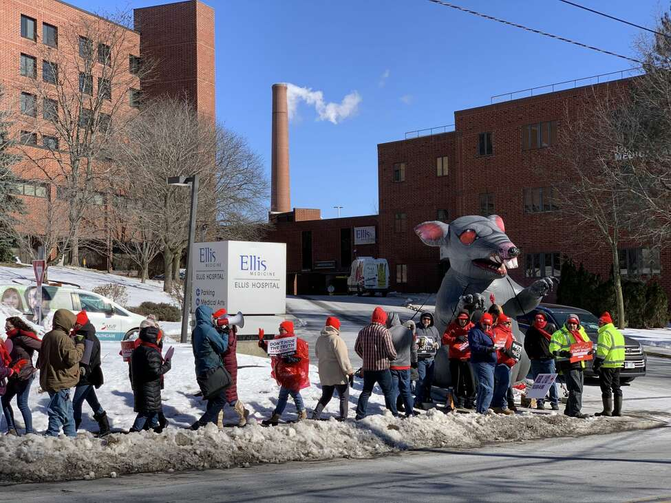 Dozens of nurses picket outside Ellis Hospital in freezing temperatures on Friday, Feb. 14, 2020 to raise public awareness for what they say are dangerously low staffing levels at hospitals across the Capital Region.