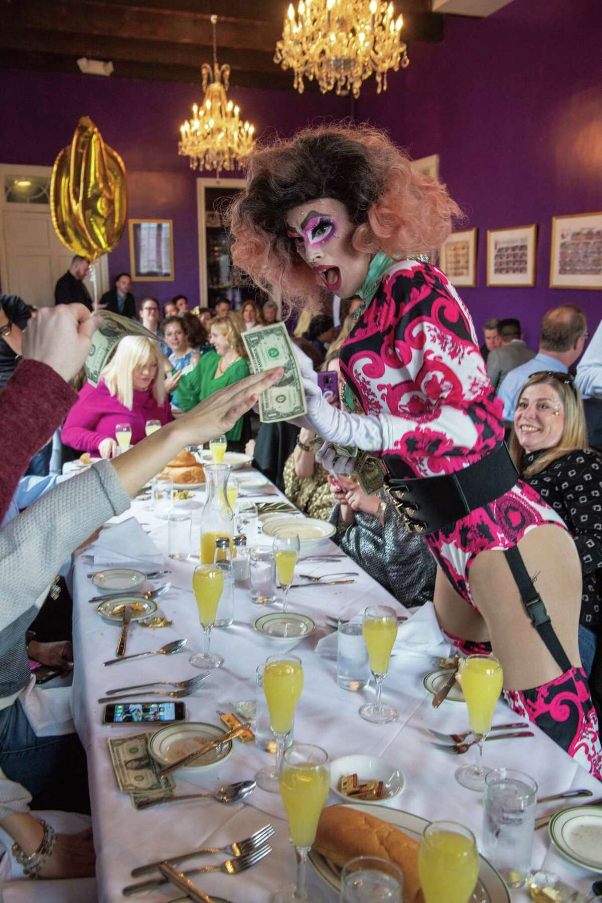 A scene from a New Orleans drag queen brunch from