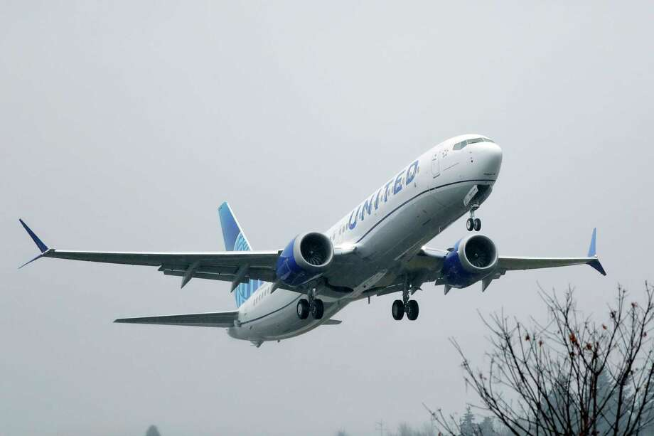 FILE - In this Dec. 11, 2019, file photo, an United Airlines Boeing 737 Max airplane takes off in the rain at Renton Municipal Airport in Renton, Wash. United Airlines said Friday, Feb. 14, 2020, that it is removing the grounded Boeing 737 Max from its schedule until early September, forcing it to cancel thousands more flights. (AP Photo/Ted S. Warren, File) Photo: Ted S. Warren / Copyright 2019 The Associated Press. All rights reserved.