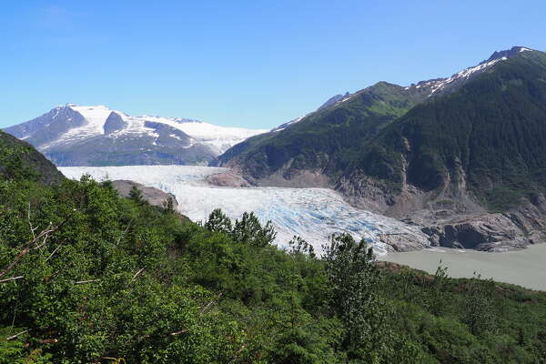 The shrinking Mendenhall Glacier, a victim of the climate crisis, is seen from the West Glacier Trail (Photo: Andrew Villeneuve)