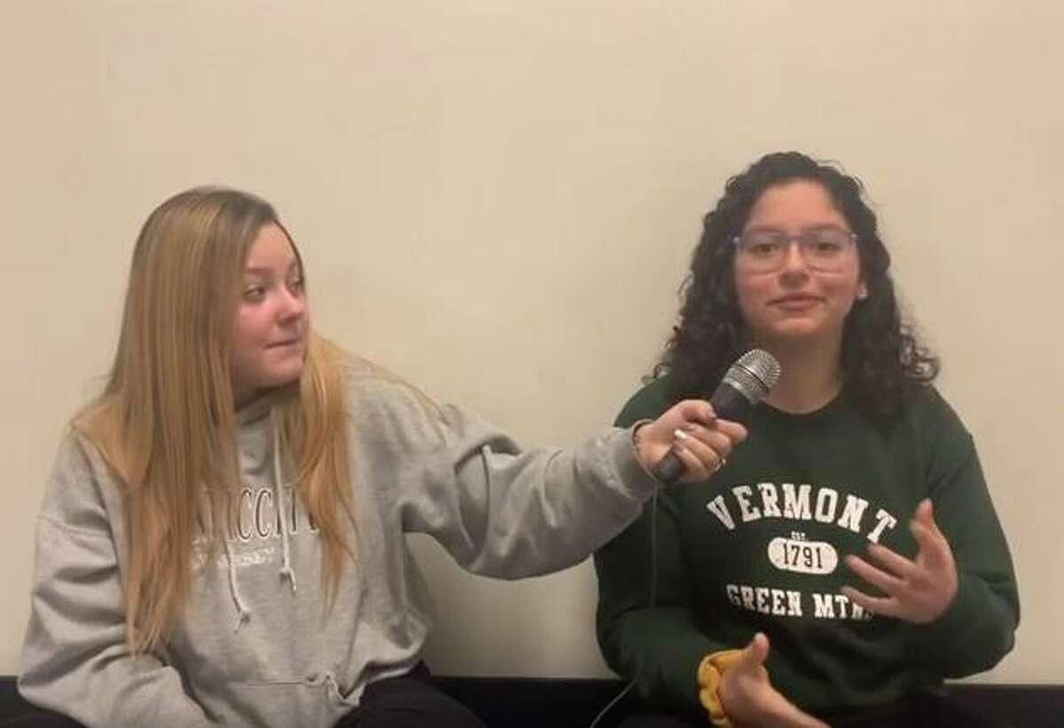 Senior Becky Lozado interviews senior Isabella Garcia, who people often assume is entirely Hispanic despite being half Italian.