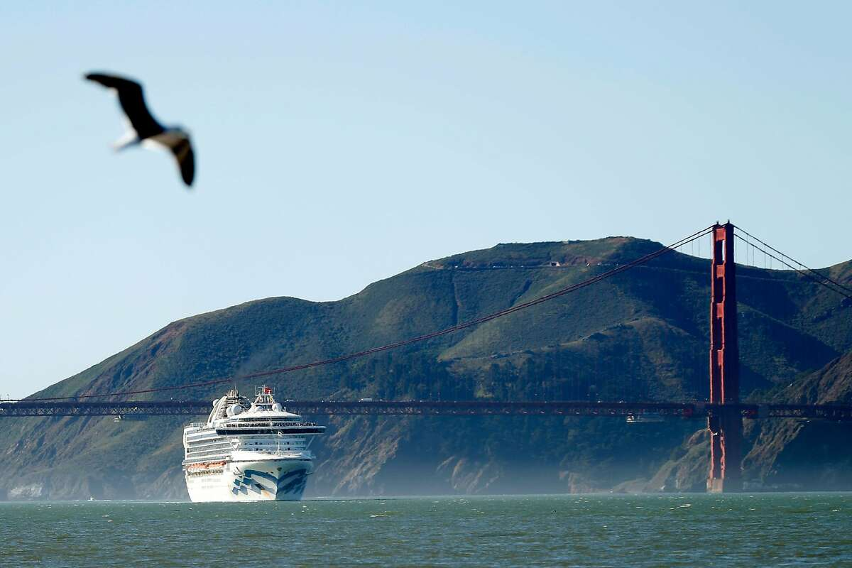 The Grand Princess passes the Golden Gate Bridge as it arrives from Hawaii in San Francisco, Calif., on Tuesday, February 11, 2020.
