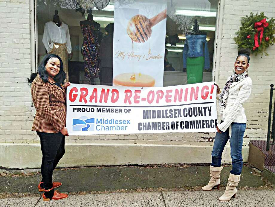 Middletown boutique My Honey's Sweeter, co-owned by Tiffany Morehead, left, and Shalli Francis, right, held a grand opening for their trendy clothing and accessories shop Jan. 10 at 143 William St., Middletown. Photo: Contributed Photo