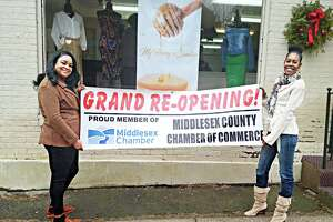Middletown boutique My Honey's Sweeter, co-owned by Tiffany Morehead, left, and Shalli Francis, right, held a grand opening for their trendy clothing and accessories shop Jan. 10 at 143 William St., Middletown.