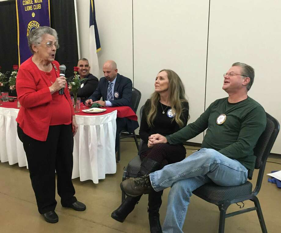 Sweet Song - Longtime Conroe Noon Lions Club member Ladoris Cates serenaded club couple Lions Sharene & Wes Carr during Sweethearts Day at the lunch meeting last Wednesday. Photo: Courtesy Photo