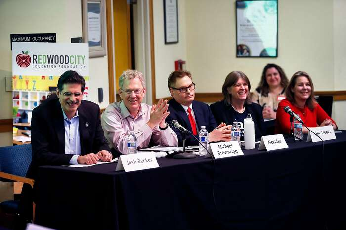 (Left to right) Josh Becker, Michael Brownrigg, Alex Glew, Sally Lieber and Shelly Masur during District 13 Senate Campaign K-12 Education Candidate Forum at Redwood City Public Library in Redwood City, Calif., on Thursday, February 13, 2020.