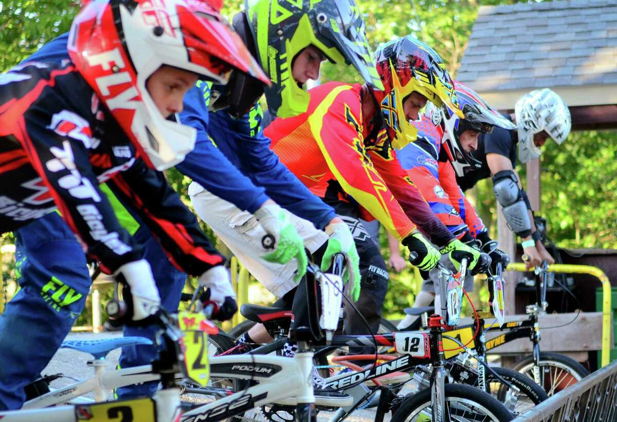 BMX race night at the Trumbull BMX track at Indian Ledge Park in Trumbull, Conn., on Tuesday August 20, 2019. The Tuesday Summer Race Series runs: (6/18 through 9/3), Race Starts: 7:00 pm, practice/race registration: 5:00 pm - 6:30 pm.