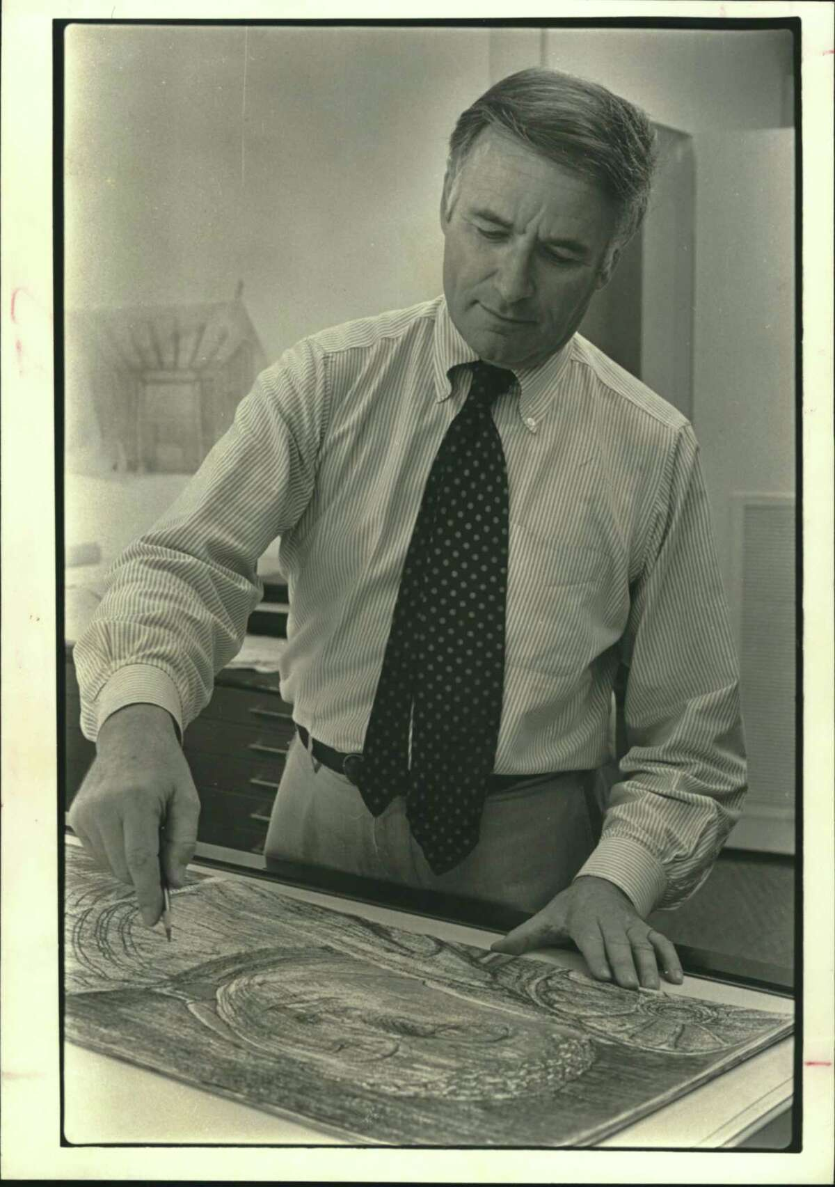 Victor Lundy, architect and professor at the University of Houston, sketches, paints, sculpts and carves stone in addition to designing prize-winning buildings.