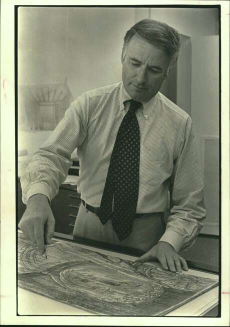 """Victor Lundy, architect and professor at the University of Houston, sketches, paints, sculpts and carves stone in addition to designing prize-winning buildings. """"But,"""" he says, """"architecture is my real art form. It combines so many things."""" Working on Buddha from the Ancient City of Polonnaruwa in Sri Lanka."""