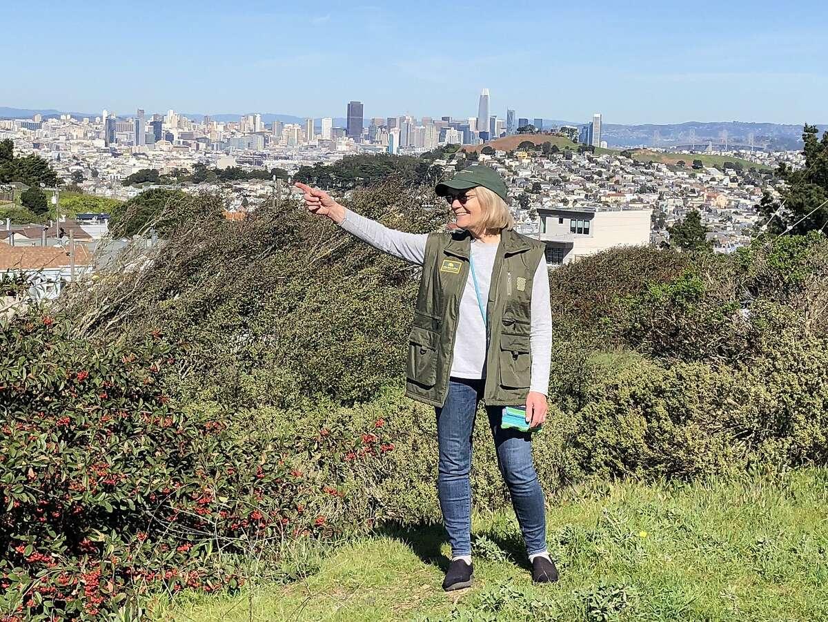 Linda Litehiser admires the view in McLaren park.