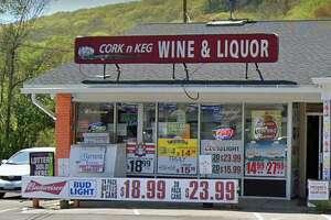 A Google Streetview screenshot of Cork n Keg Wine & Liquor at 430 Rubber Ave. in Naugatuck, Conn.