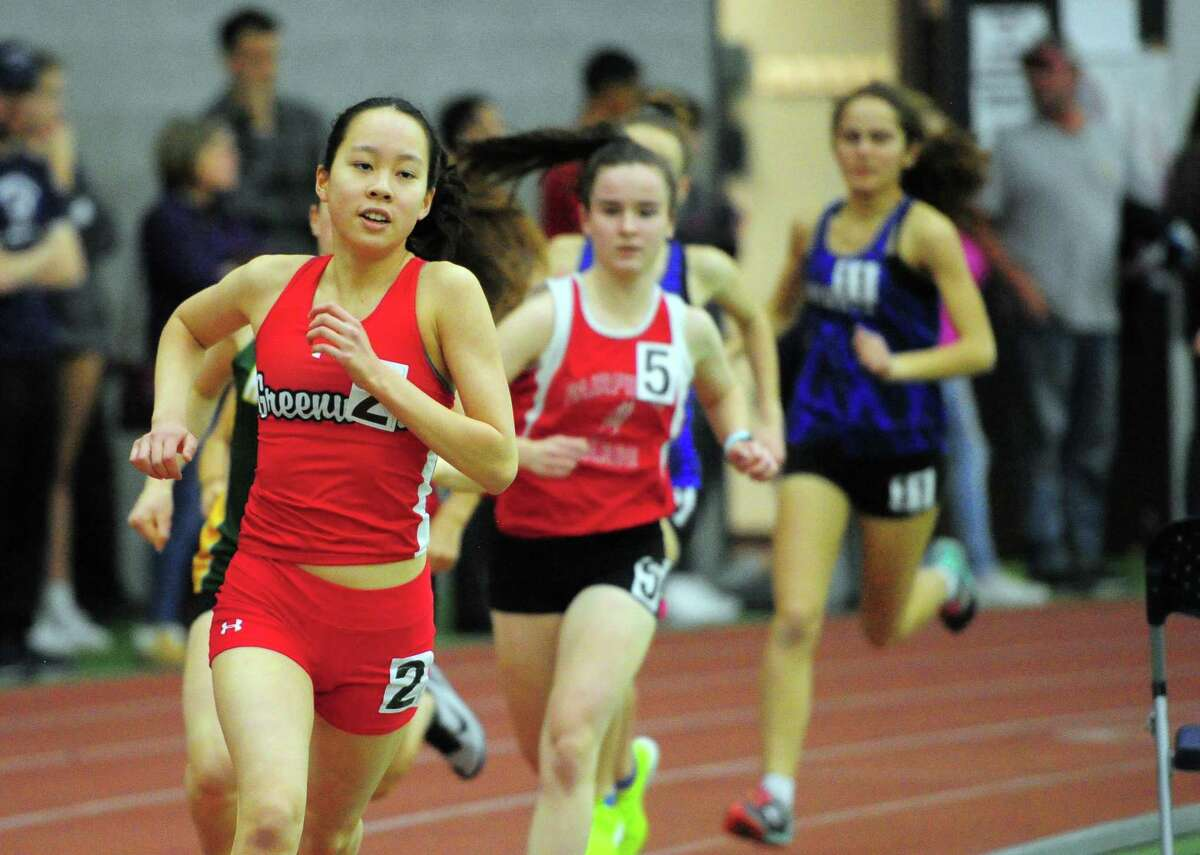 Victoria Liu is seen at the CIAC Class LL Track Championships in New Haven, Conn., on Thursday Feb. 13, 2020. Liu was 13th in the 3,200-meter run.