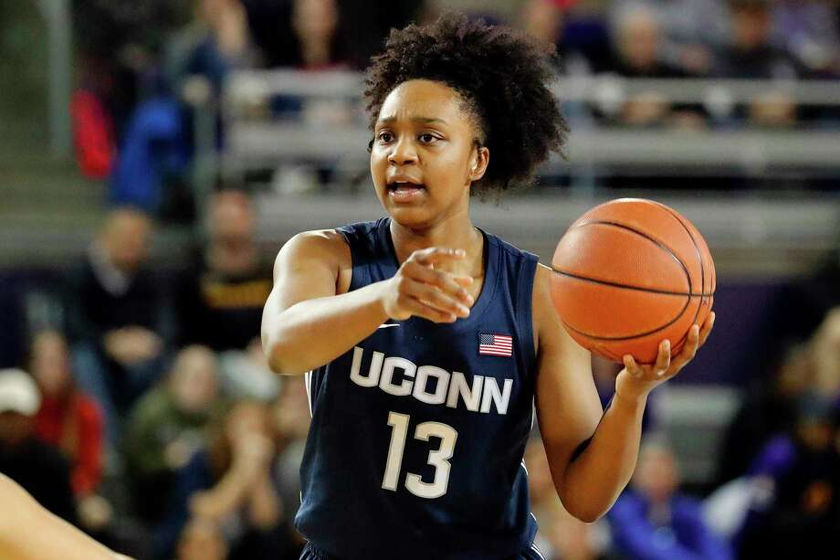 Connecticut's Christyn Williams (13) runs a play against East Carolina during the second half of an NCAA college basketball game, Saturday, Jan. 25, 2020 in Greenville, N.C. (AP Photo/Karl B DeBlaker) Photo: Karl B DeBlaker / Associated Press / Copyright 2020 The Associated Press. All rights reserved