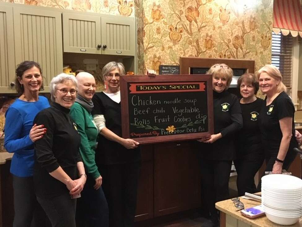 A monthly service project found members of Preceptor Beta Psi (a Clifton Park Chapter of Beta Sigma Phi international sisterhood), preparing a meal earlier this month for 50 people at Albanya€™s Ronald McDonald House. From left: Ann Dietz, Loretta Parsons, Laura Perrault, Linda Harrison, Kathie Hedrick, Cheryl Cella and Donna Turner. For more information about Beta Sigma Phi, visit: betasigmaphi.org