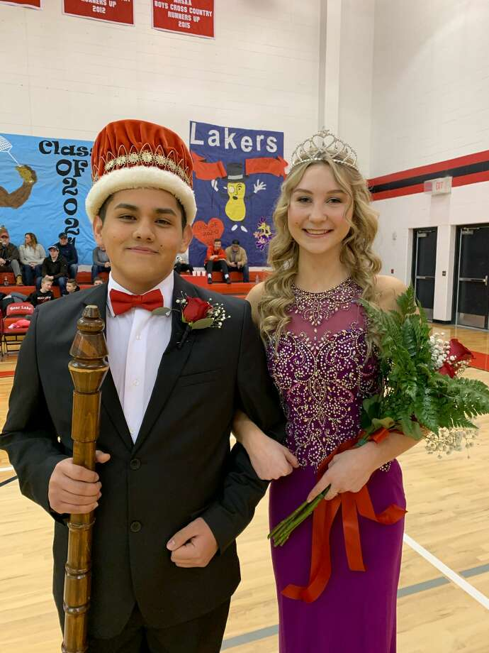 Bear Lake's Fabian Aguilar and Shaely Waller were crowned the school's Homecoming King and Queen for 2020 on Friday during a ceremony held at halftime of the Lakers' varsity boys basketball game against Pentwater.  Photo: Dylan Savela/News Advocate