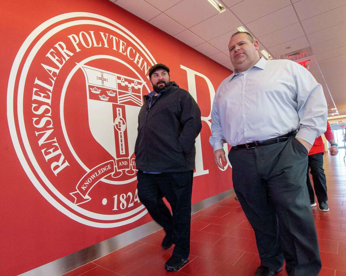 Detroit Lions Head Coach Matt Patricia, a former player and assistant coach at Rensselaer Polytechnic Institute, tours the collegea€™s East Campus Athletic Village with Scott Sasenbury, the athletic operations manager on Friday, Feb. 14, 2019 (Jim Franco/Special to the Times Union.)