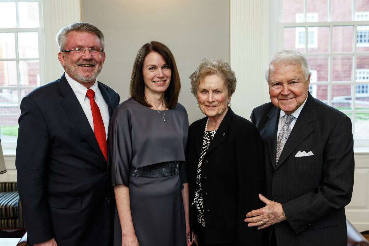 Carol and George Bauer of New Canaan, right, have given Yale Divinity School its largest gift ever, $15 million, to support the seminary's Living Village project. At left are Divinity School Dean Greg Sterling and his wife, Adrian Sterling.