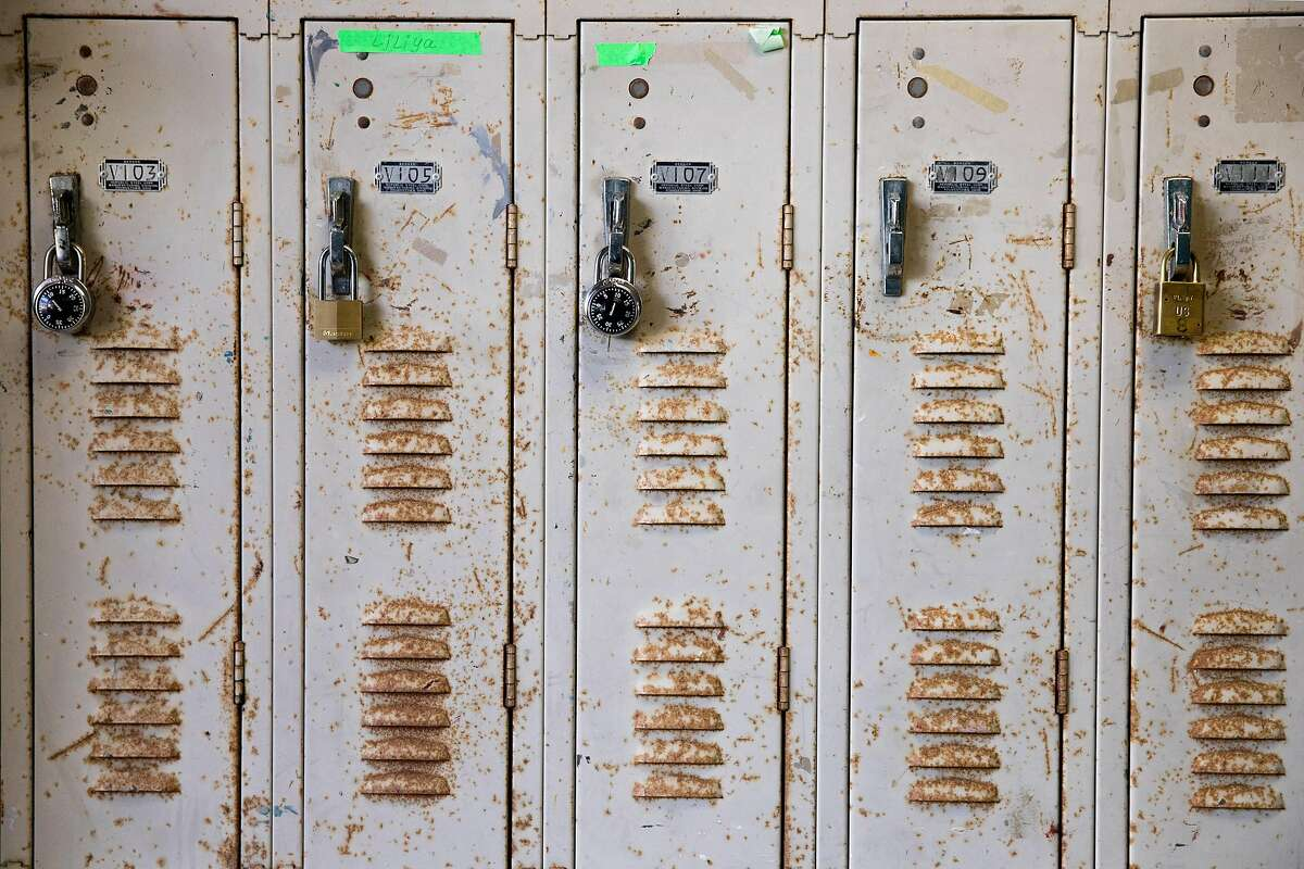Lockers show some rust inside the Creative Arts Building at City College's main Ocean Campus.