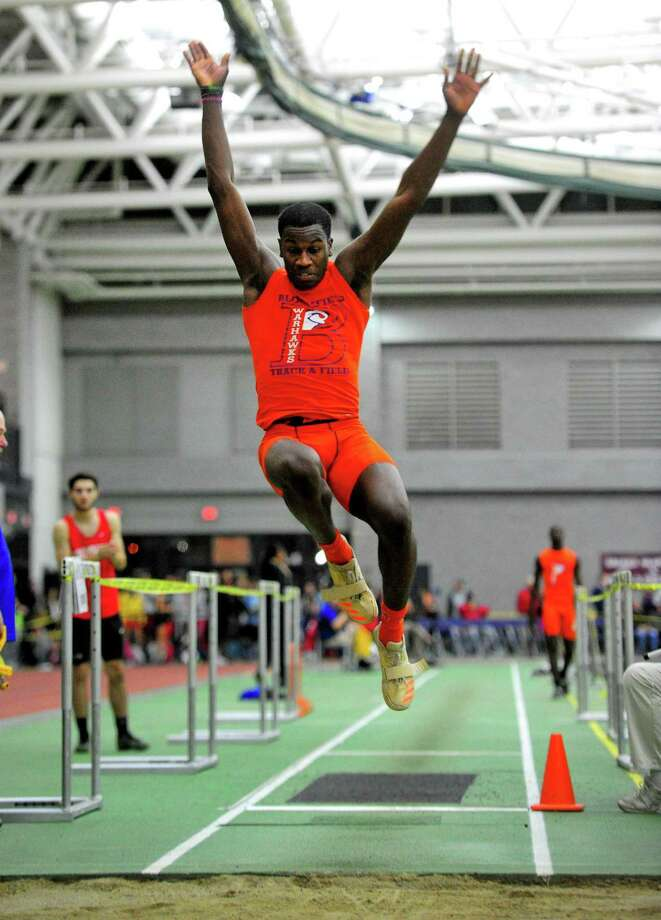 Bloomfield's Sean Dixon-Bode competes in the lung jump during CIAC Class S Track & Field Championship action in New Haven, Conn., on Friday Feb. 14, 2020. Photo: Christian Abraham / Hearst Connecticut Media / Connecticut Post