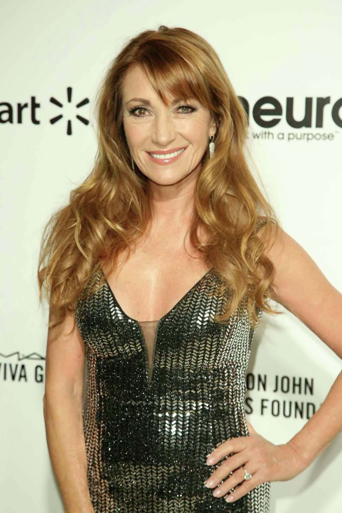 Jane Seymour arrives at the 2020 Elton John AIDS Foundation Oscar Viewing Party on Sunday, Feb. 9, 2020, in West Hollywood, Calif. (Photo by Willy Sanjuan/Invision/AP)