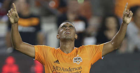 Houston Dynamo forward Mauro Manotas (9) celebrates his goal at the 39th minute during the first half of the MLS game against the New York Red Bulls at BBVA Stadium on Wednesday, July 3, 2019, in Houston.