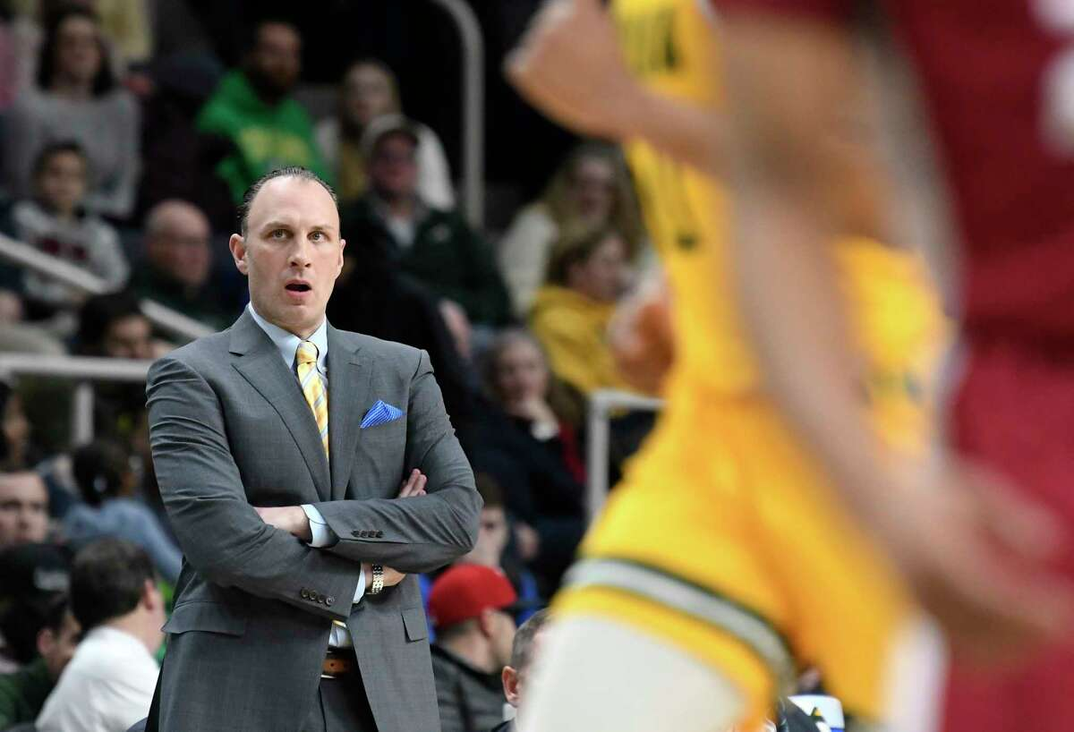 Siena head coach Carmen Maciariello instructs his players against Rider during the first half of an NCAA basketball game Friday, Feb.14, 2020, in Albany, N.Y. (Hans Pennink / Special to the Times Union) ORG XMIT: 021520_siena_HP121
