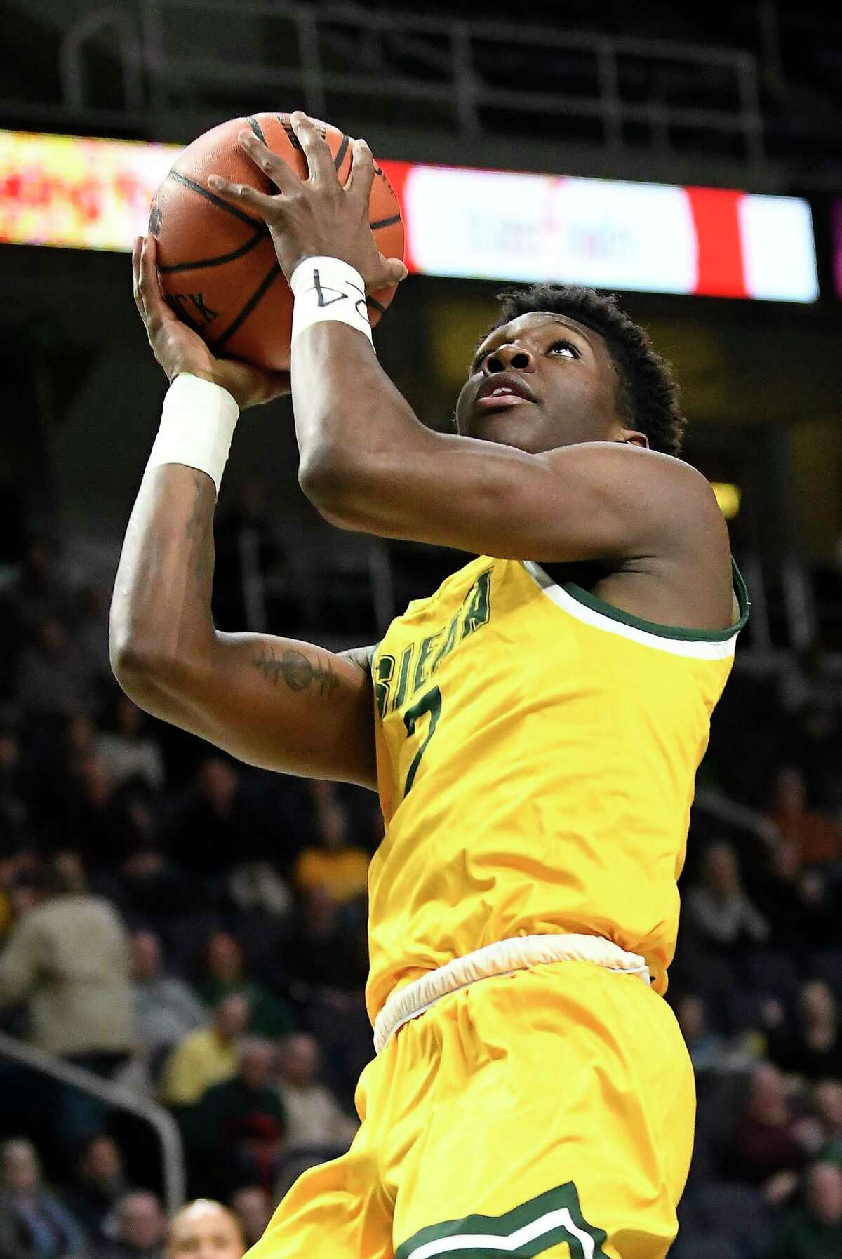 Siena guard Gary Harris Jr. (2) scores against Rider during the first half of an NCAA basketball game Friday, Feb.14, 2020, in Albany, N.Y. (Hans Pennink / Special to the Times Union) ORG XMIT: 021520_siena_HP113