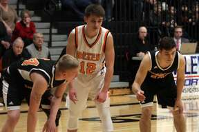 With the game tied 52-52, Dylan Kadar sunk a game-winning, half court buzer-beat to put Harbor Beach over Ubly by a 55-52 margin on Friday, Feb. 14.