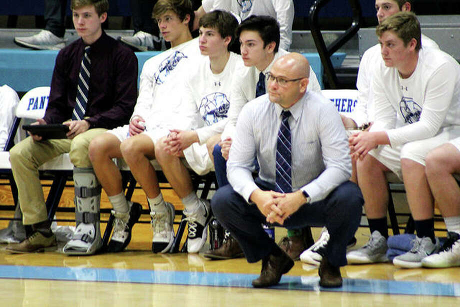 Jersey coach Stote Reeder's Panthers fell at home Friday to Triad 72-58. Photo: Pete Hayes | The Telegraph