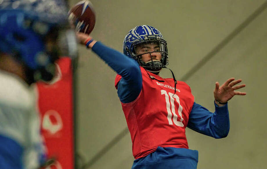 St. Louis BattleHawks quartback Jordan Ta'amu throws a pass during practice earlier this week at the former Rams Park, now known asthe Lou Fusz Athletic Training Center in Earth City. Photo: Nathan Woodside | The Telegraph