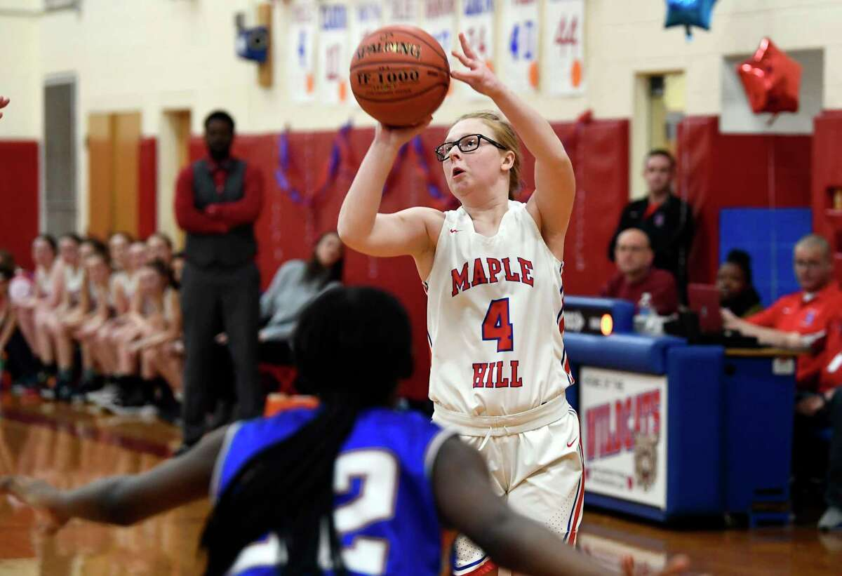 Mapple Hill's Paige Bleau (4) during the first half of a girls' high school basketball game against the Hudson Friday, Feb.14, 2020, in Schodack, N.Y. (Hans Pennink / Special to the Times Union) ORG XMIT: 021520_hsbb_HP103